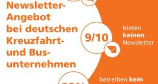 Infografik Newsletter-Angebot bei deutschen Kreuzfahrt- und Busunternehmen.