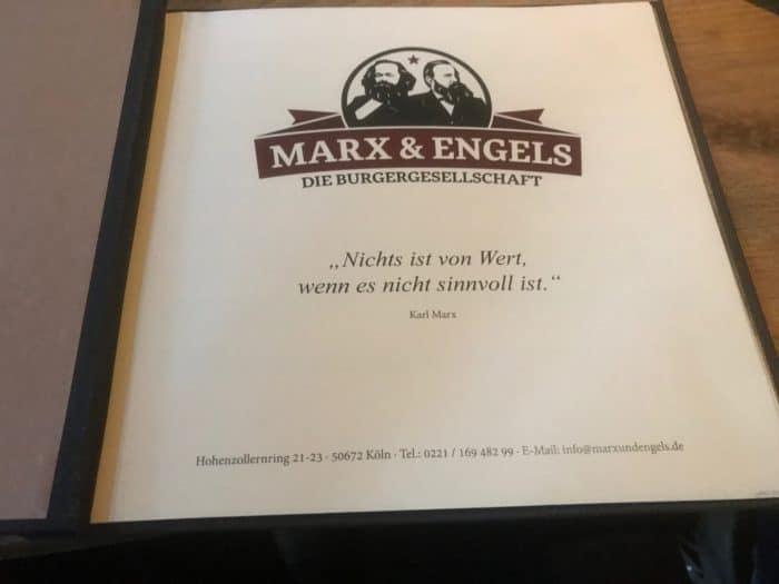 Innenseite Speisekarte Marx & Engels