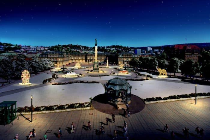Lichtkunstwerke auf Schlossplatz und Königstraße werden sichtbar