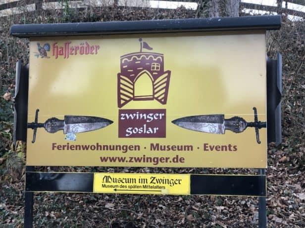 Zwinger Goslar Hinweistafel