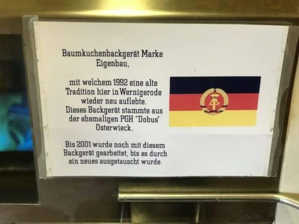 Hinweistafel im Museum Harzer Baumkuchen