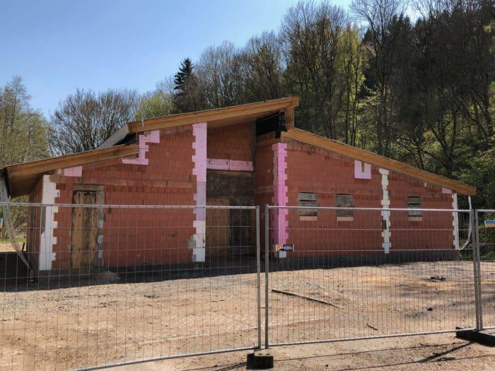 Rohbau Erlebniszentrum Heimkehle im April 2019