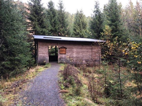 Außenansicht Wildtier-Beobachtungshütte im Odertal im Harz