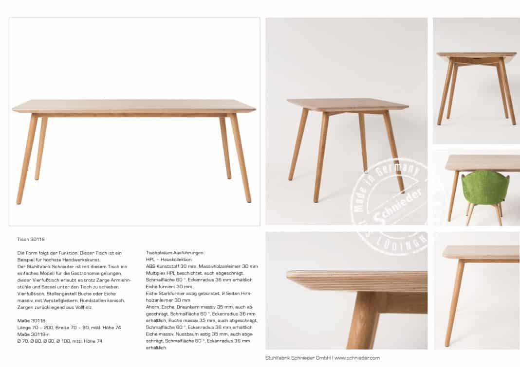 Ein Tisch für alle Fälle: Moderner Massivholztisch für die Gastronomie