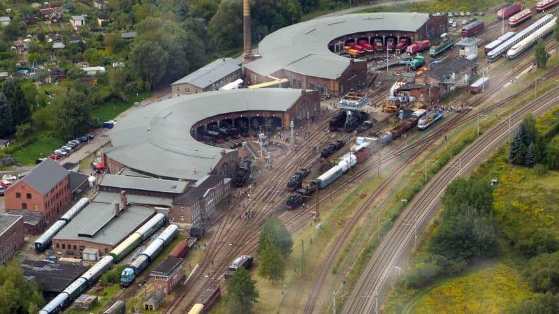 Industriekultur Sachsen: Luftbild Eisenbahnmuseum Chemnitz