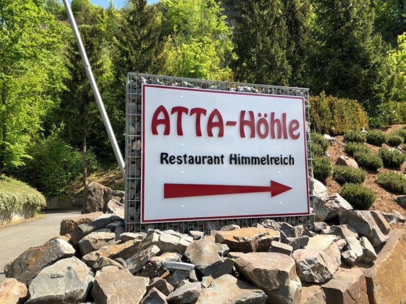 Hinweisschild zur Atta-Höhle, Bild: Hoga-Redaktion